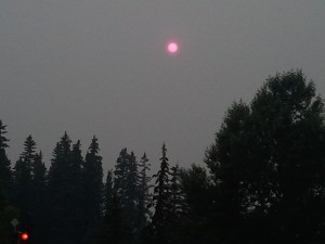 red sun due to smoke